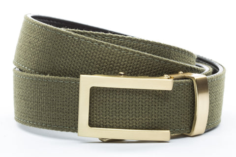 1-25-quot-traditional-buckle-in-gold 1-25-quot-olive-drab-canvas-strap