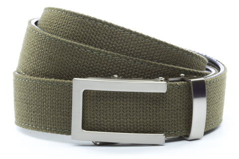 1-25-quot-traditional-buckle-in-silver 1-25-quot-olive-drab-canvas-strap