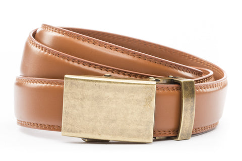 1-25-quot-classic-buckle-in-antiqued-gold 1-25-quot-saddle-tan-leather-strap