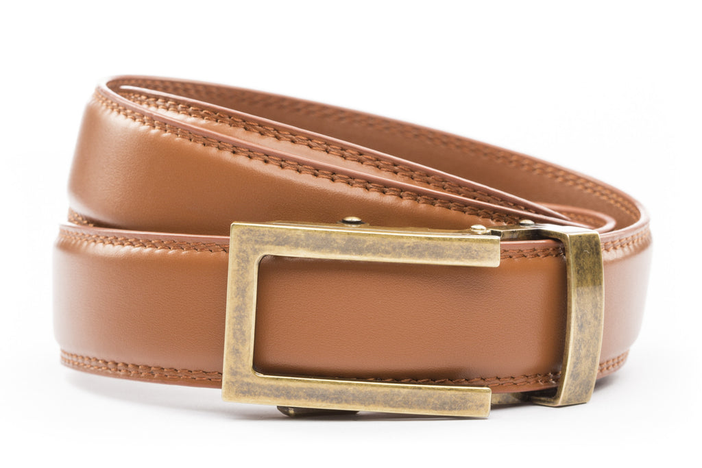 "Saddle Tan Formal Leather w/Traditional in Antiqued Gold Buckle (1.25"")"
