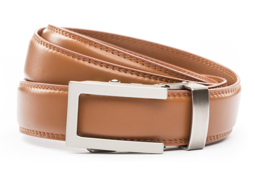 "Saddle Tan Formal Leather w/Traditional in Gunmetal Buckle (1.25"")"