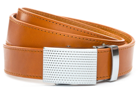 1-25-quot-anson-golf-buckle-in-silver 1-25-quot-saddle-tan-vegetable-tanned-leather-strap