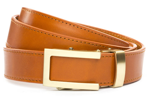 1-25-quot-traditional-buckle-in-gold 1-25-quot-saddle-tan-vegetable-tanned-leather-strap