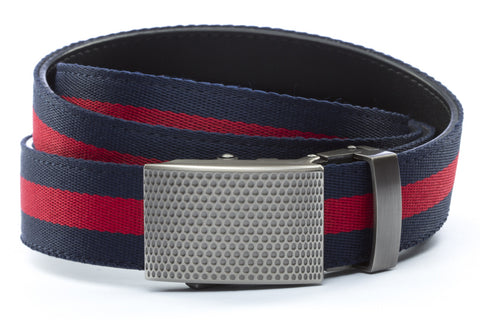 1-25-quot-anson-golf-buckle-in-gunmetal 1-25-quot-navy-red-stripe-cloth-strap