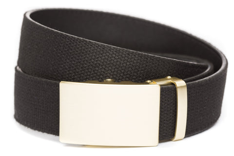 1-5-quot-classic-buckle-in-matte-gold xl-1-5-quot-black-canvas-strap
