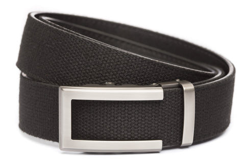 1-5-quot-traditional-buckle-in-gunmetal xl-1-5-quot-black-canvas-strap