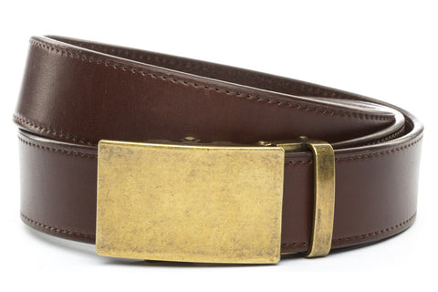 1-5-quot-classic-buckle-in-antiqued-gold 1-5-quot-chocolate-vegetable-tanned-leather-strap