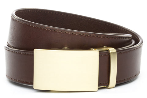 1-5-quot-classic-buckle-in-matte-gold 1-5-quot-chocolate-vegetable-tanned-leather-strap