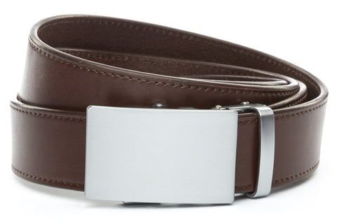 1-5-quot-classic-buckle-in-silver 1-5-quot-chocolate-vegetable-tanned-leather-strap