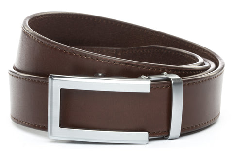 1-5-quot-traditional-buckle-in-silver 1-5-quot-chocolate-vegetable-tanned-leather-strap
