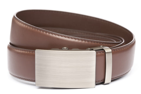1-5-quot-classic-buckle-in-gunmetal 1-5-quot-chocolate-leather-strap
