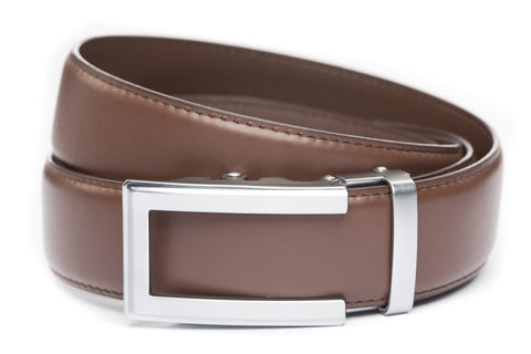 1-5-quot-traditional-buckle-in-silver 1-5-quot-chocolate-leather-strap