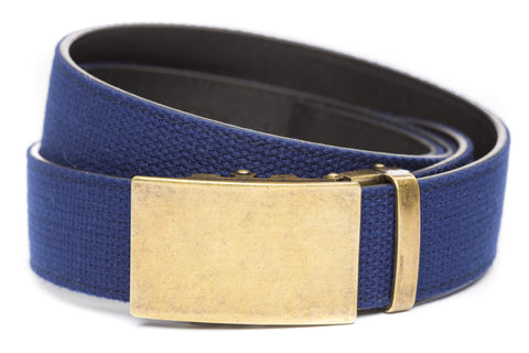 1-5-quot-classic-buckle-in-antiqued-gold 1-5-quot-navy-canvas-strap