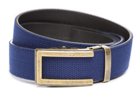 1-5-quot-traditional-buckle-in-antiqued-gold 1-5-quot-navy-canvas-strap