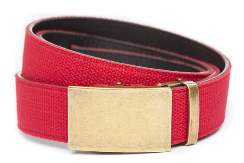 1-5-quot-classic-buckle-in-antiqued-gold 1-5-quot-red-canvas-strap