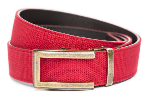 1-5-quot-traditional-buckle-in-antiqued-gold 1-5-quot-red-canvas-strap