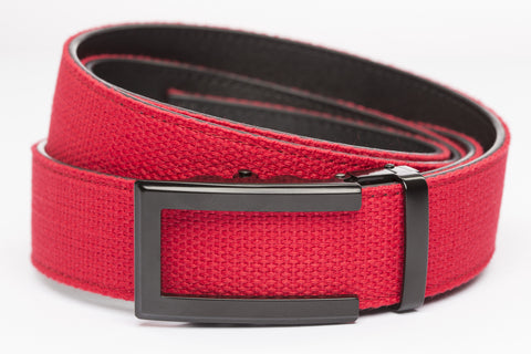 "Red Canvas w/Traditional in Black Buckle (1.5"")"