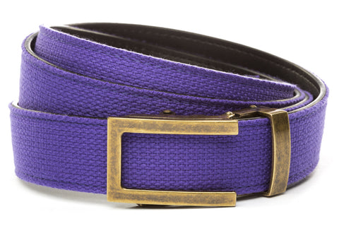 1-25-quot-traditional-buckle-in-antiqued-gold 1-25-quot-purple-canvas-strap