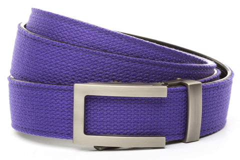 1-25-quot-traditional-buckle-in-gunmetal 1-25-quot-purple-canvas-strap