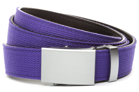 1-25-quot-classic-buckle-in-silver 1-25-quot-purple-canvas-strap