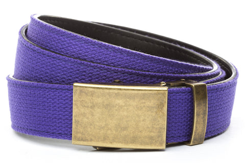 1-25-quot-classic-buckle-in-antiqued-gold 1-25-purple-canvas-strap