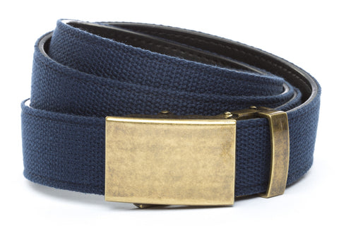 1-25-quot-classic-buckle-in-antiqued-gold 1-25-quot-navy-canvas-strap
