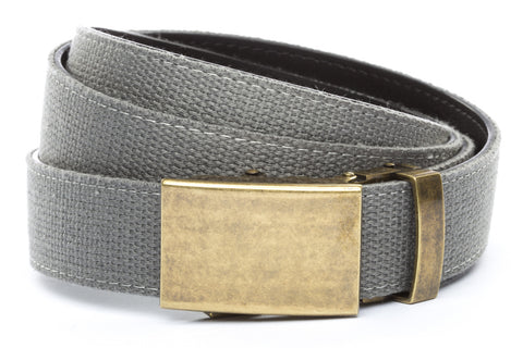 1-25-quot-classic-buckle-in-antiqued-gold 1-25-quot-grey-canvas-strap