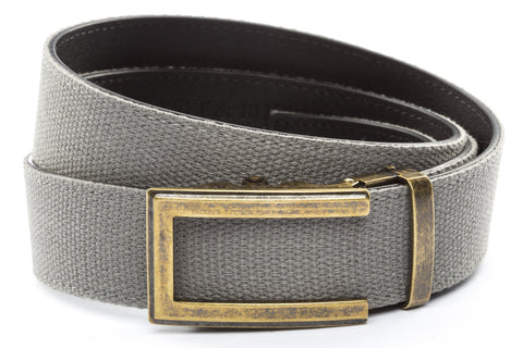 1-5-quot-traditional-buckle-in-antiqued-gold 1-5-quot-grey-canvas-strap