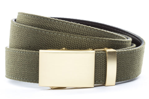 1-25-quot-classic-buckle-in-matte-gold 1-25-quot-olive-drab-canvas-strap
