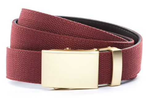 1-25-quot-classic-buckle-in-matte-gold 1-25-quot-crimson-canvas-strap