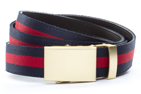 1-25-quot-classic-buckle-in-matte-gold 1-25-quot-navy-red-stripe-cloth-strap