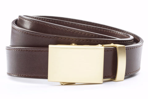 1-25-quot-classic-buckle-in-matte-gold 1-25-quot-chocolate-vegetable-tanned-leather-strap