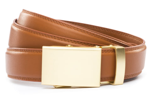 "Saddle Tan Formal Leather w/Classic in Matte Gold Buckle (1.25"")"