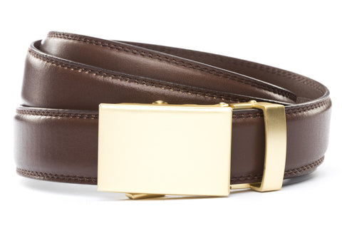 1-25-quot-classic-buckle-in-matte-gold 1-25-quot-chocolate-leather-strap