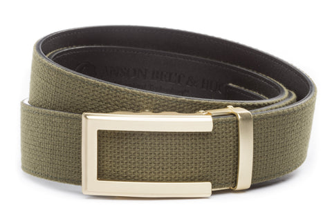 1-5-quot-traditional-buckle-in-gold 1-5-quot-olive-drab-canvas-strap