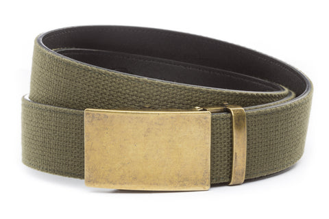 1-5-quot-classic-buckle-in-antiqued-gold 1-5-quot-olive-drab-canvas-strap