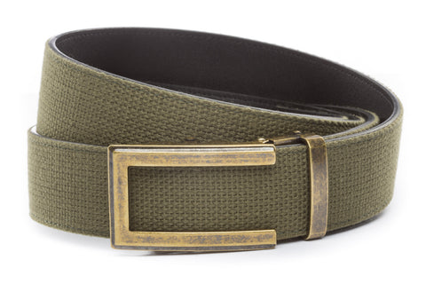 1-5-quot-traditional-buckle-in-antiqued-gold 1-5-quot-olive-drab-canvas-strap