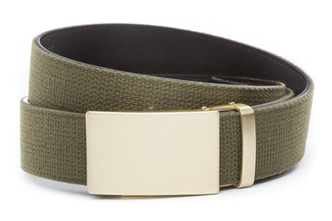 1-5-quot-classic-buckle-in-matte-gold 1-5-quot-olive-drab-canvas-strap