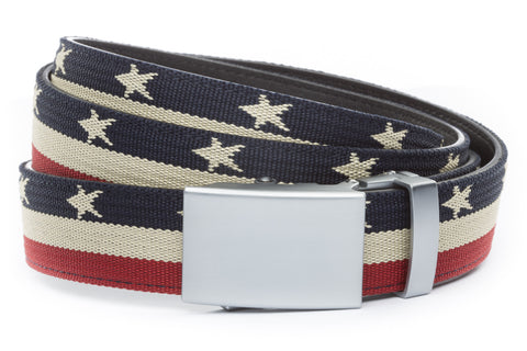 1-25-quot-classic-buckle-in-silver 1-25-quot-stars-and-stripes-canvas-strap