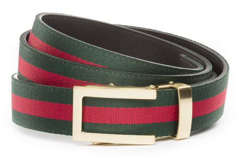 1-25-quot-traditional-buckle-in-gold 1-25-quot-green-red-stripe-cloth-strap