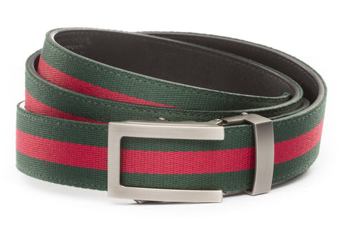 1-25-quot-traditional-buckle-in-gunmetal 1-25-quot-green-red-stripe-cloth-strap