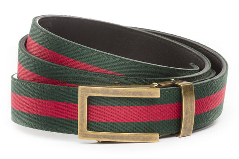 1-25-quot-traditional-buckle-in-antiqued-gold 1-25-quot-green-red-stripe-cloth-strap