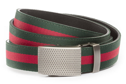 1-25-quot-anson-golf-buckle-in-gunmetal 1-25-quot-green-red-stripe-cloth-strap