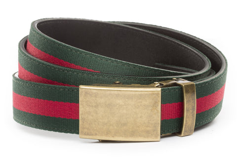 1-25-quot-classic-buckle-in-antiqued-gold 1-25-quot-green-red-stripe-cloth-strap