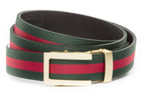 1-25-quot-traditional-buckle-in-matte-gold 1-25-quot-green-red-stripe-cloth-strap