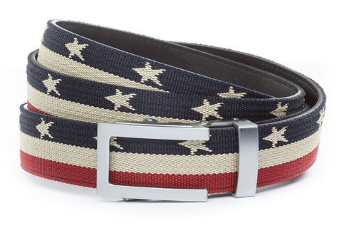 1-25-quot-traditional-buckle-in-silver 1-25-quot-stars-and-stripes-canvas-strap