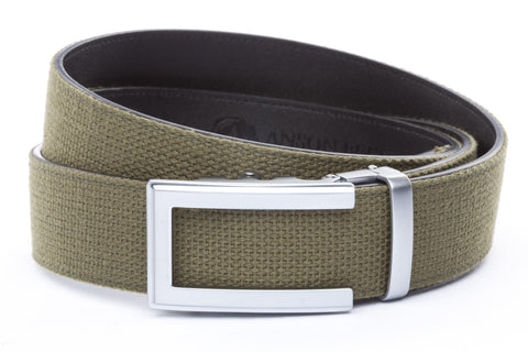 1-5-quot-traditional-buckle-in-silver 1-5-quot-olive-drab-canvas-strap