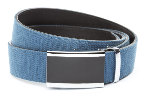 1-5-quot-onyx-buckle-in-silver 1-5-quot-marine-blue-canvas-strap