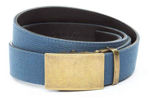 1-5-quot-classic-buckle-in-antiqued-gold 1-5-quot-marine-blue-canvas-strap