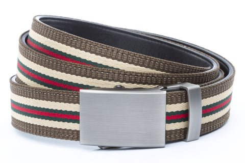 1-25-quot-classic-buckle-in-gunmetal 1-25-quot-green-red-stripe-w-trim-cloth-strap